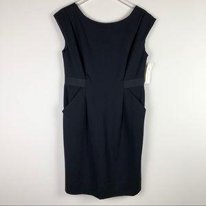 Shoshanna Boat neck shift dress with pockets black